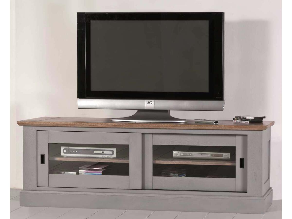 Grand Tv 2 Portes Coulissantes Vitr Es Esmans # Meuble Cloison Tv