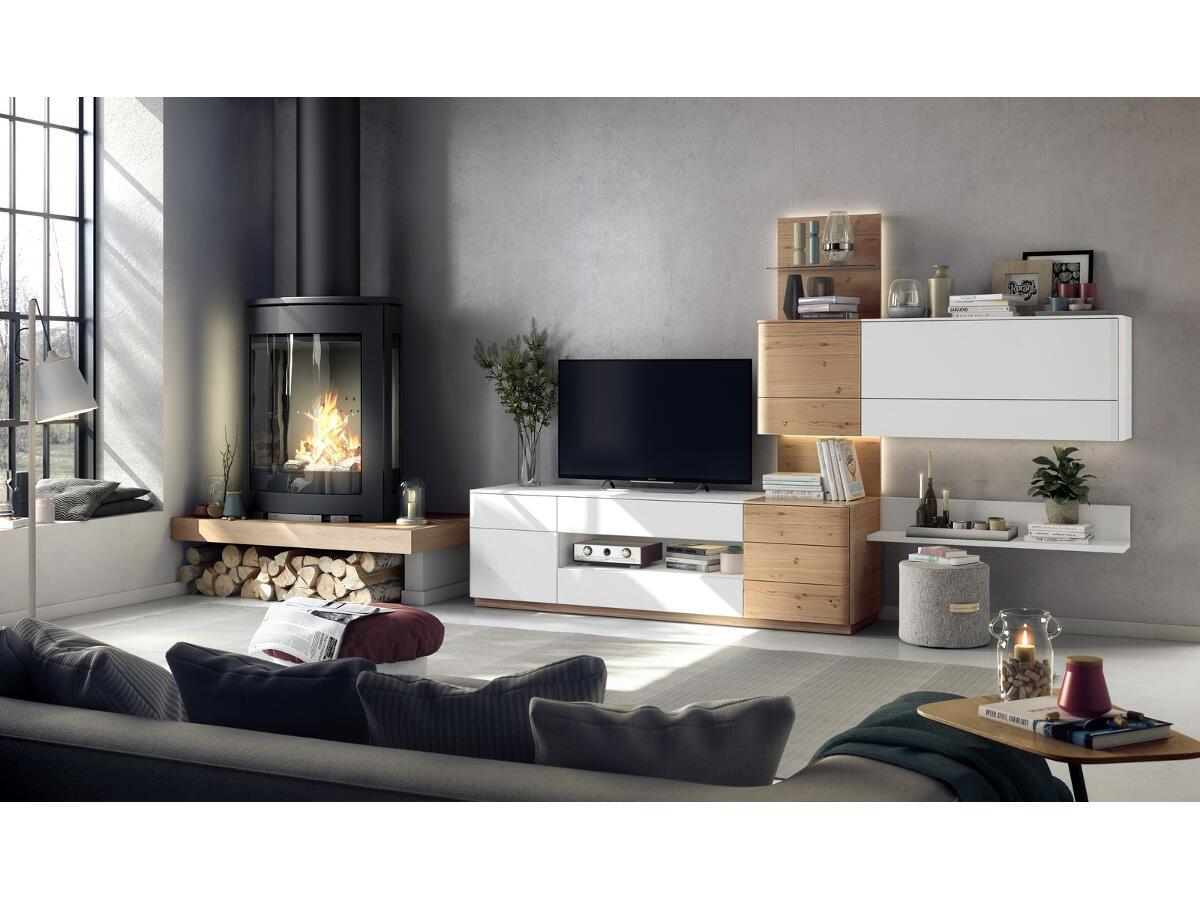 Meuble Tv Hifi 2 Portes 2 Tiroirs Esmans # Meuble Tv Chene Naturel