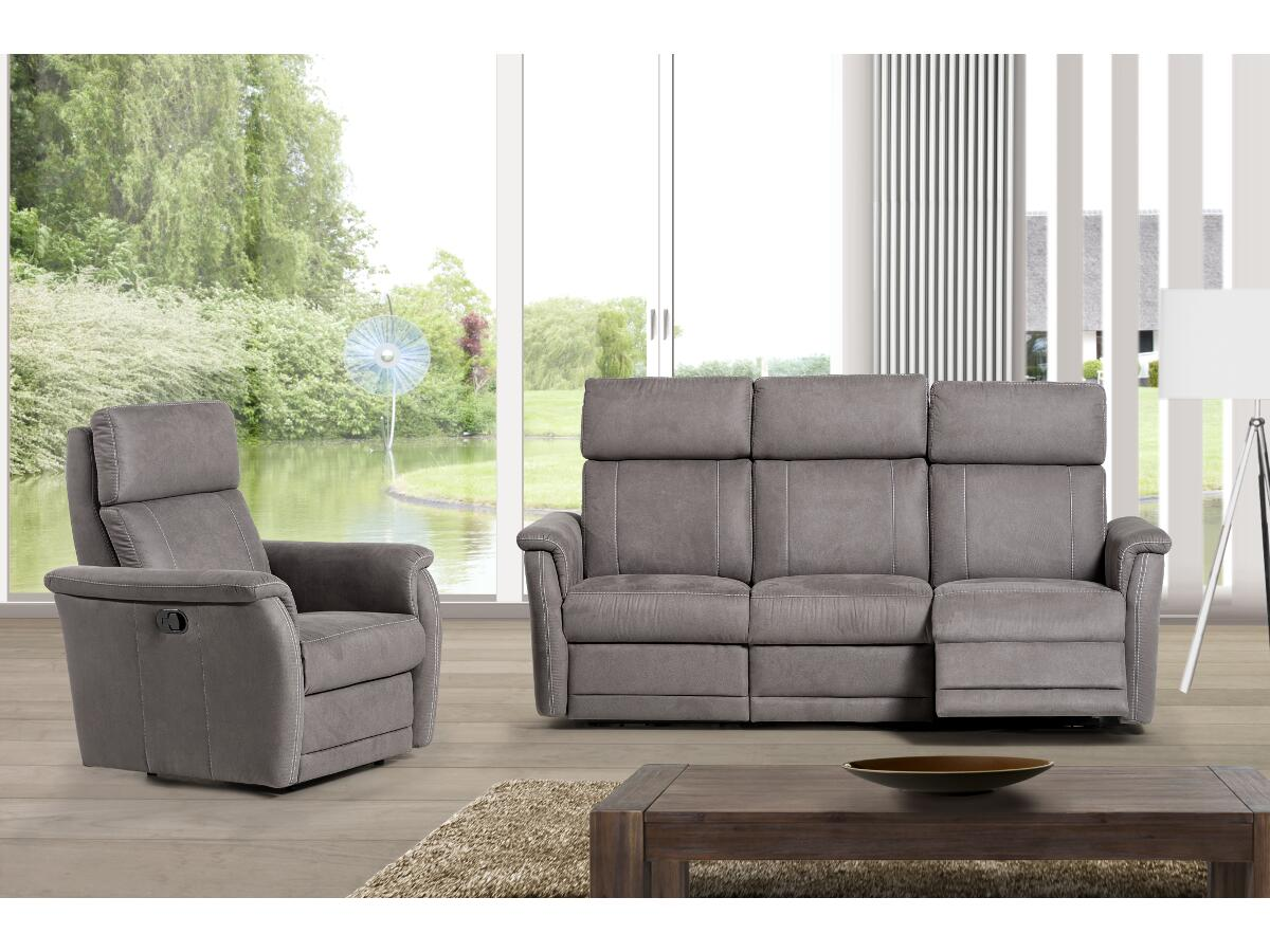 canap 3 places dont 2 relax electriques esmans. Black Bedroom Furniture Sets. Home Design Ideas
